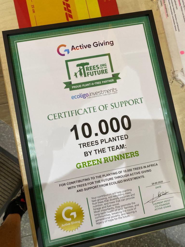 Certificado de 10.000 árboles plantados
