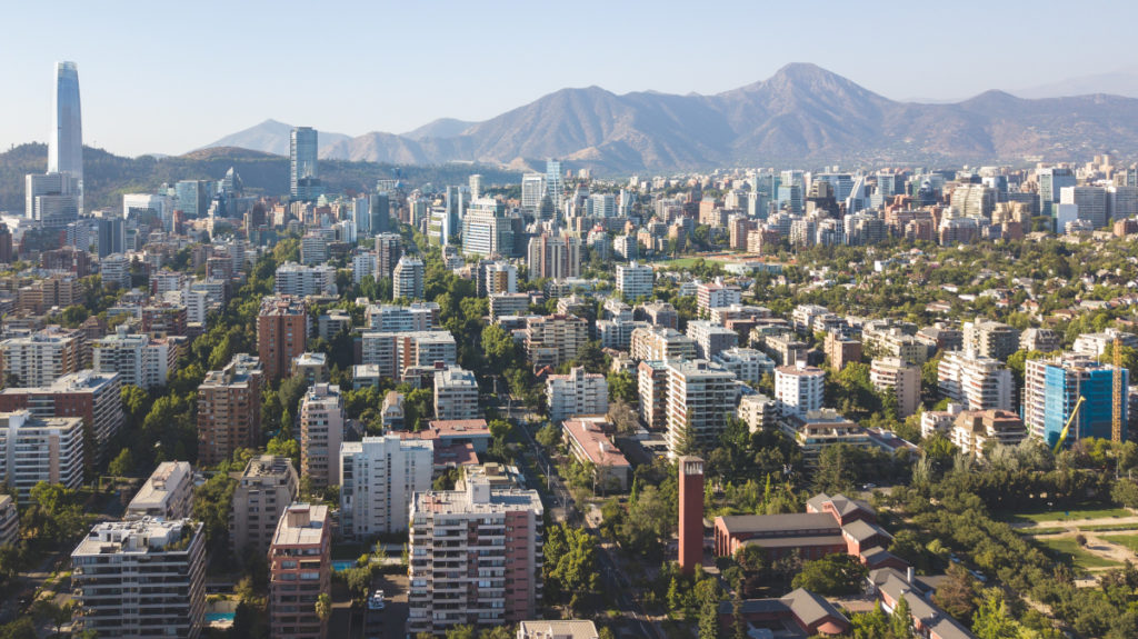 Vista aérea de Santiago de Chile.