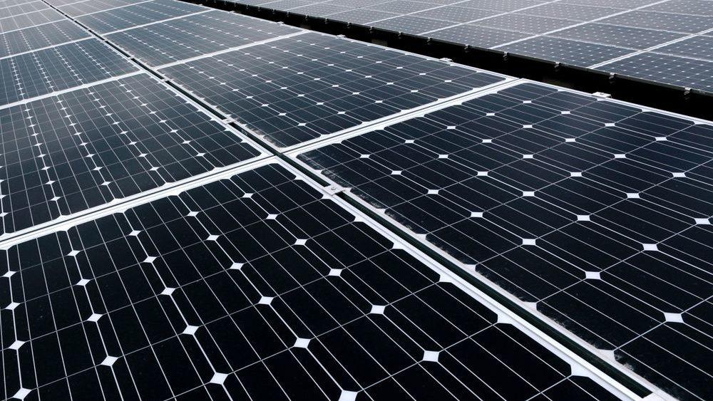 Primer plano de un panel solar.