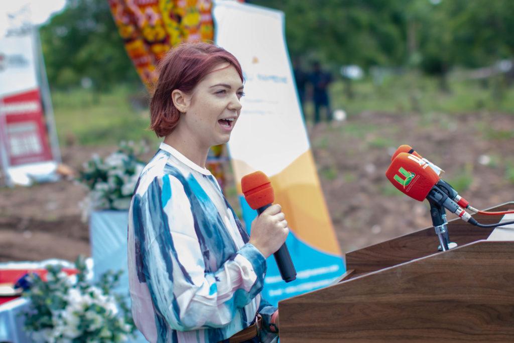 ecoligo's Senior Marketing Manager at the inauguration for the solar system