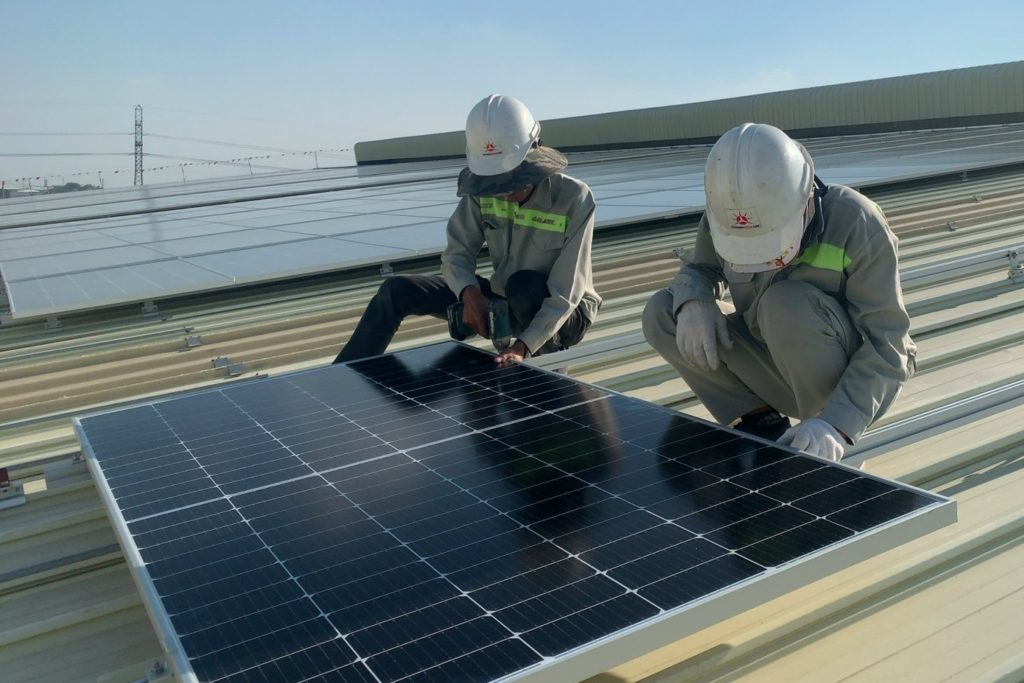 Installation of solar panels at Kim Duc
