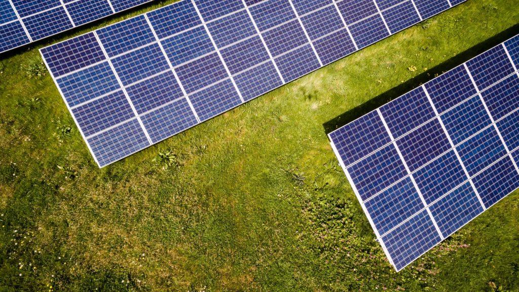 Solar panel in birds eye view