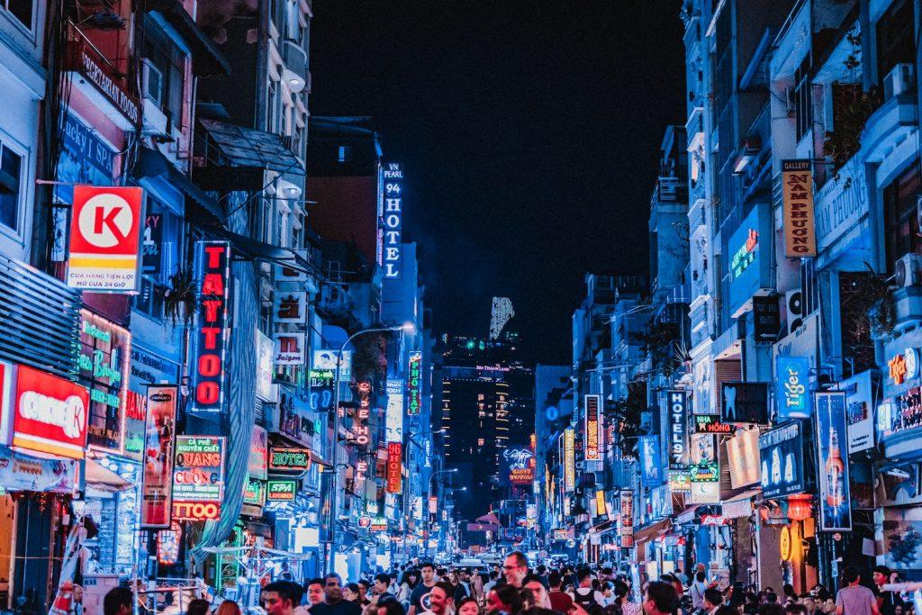 Ciudad de Ho Chi Minh de noche.