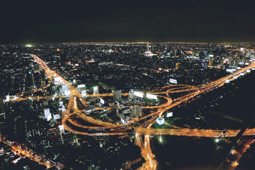 View of Bangkok at night from above.
